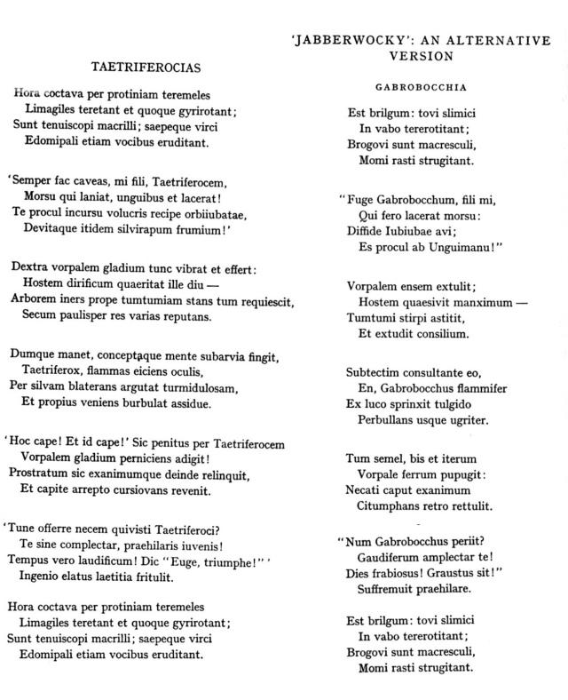 Jabberwocky en llatí. Dues versions.