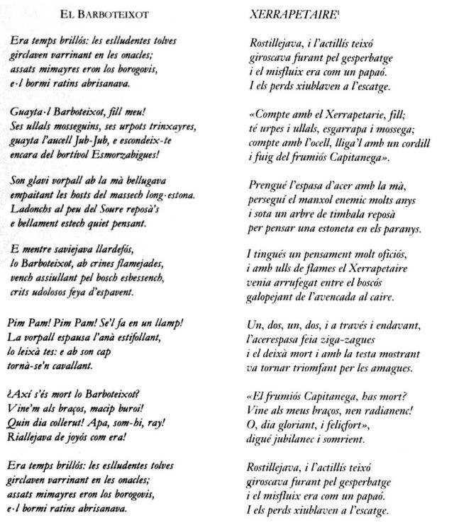 Jabberwocky traduit al català. Esquerra, Viana (fitxa 18). Dreta, Oliva (fitxa 19)