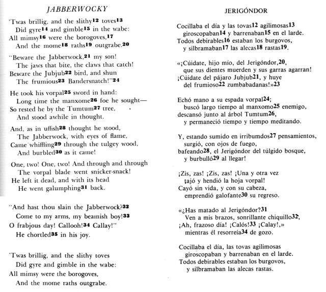 Comparació Jabberwocky i Jerigóndor