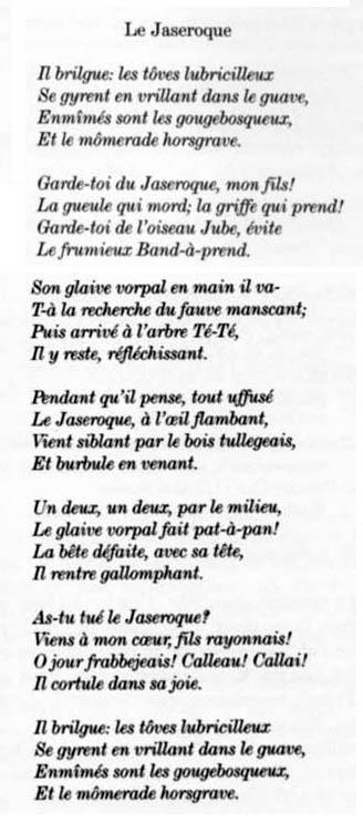 Traducció del Jabberwocky per Frank  L.Warrin