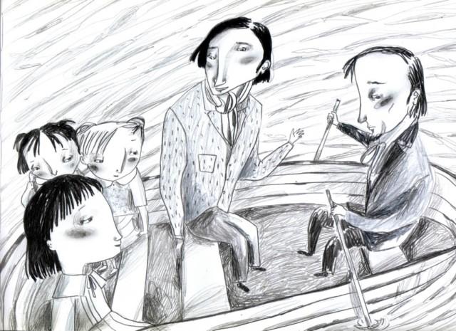 Les germanes Liddell., el Rev. Duckworth i C.L.Dodgson a la barca. Fitxa 38