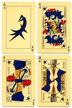 Pal de l'estrella del Jeu de Marseille, cartes surrealistes d'André Breton. Alícia és a baix a l'esquerra com la sirena.