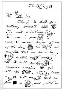 Fragment de carta amb criptogrames jeroglífics, dirigida a Georgina Watson. Fitxa 55. Fes clic al dibuix  per ampliar.