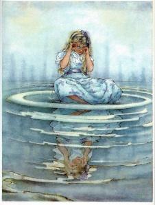 Alícia a la piscina de llàgrimes. Il·lustració de Peter Weevers. Fitxa 66.