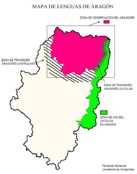 Mapa de llengües a Aragó