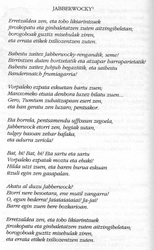 Jabberwocky en basc. Fitxa 76.
