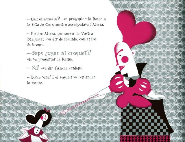 Pàgina interior (2) de l''Alícia il·lustrada per  Roberto Maján. Fitxa 73