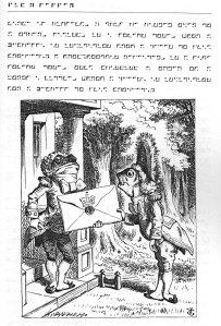 Una pàgina de l'Alícia nictogràfica. Fitxa 77