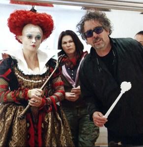 Helena Bonham Carter com a Reina Vermella, amb el seu marit Tim Burton