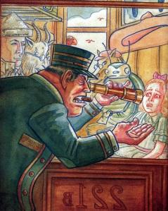 El tren amb els cartoonists americans