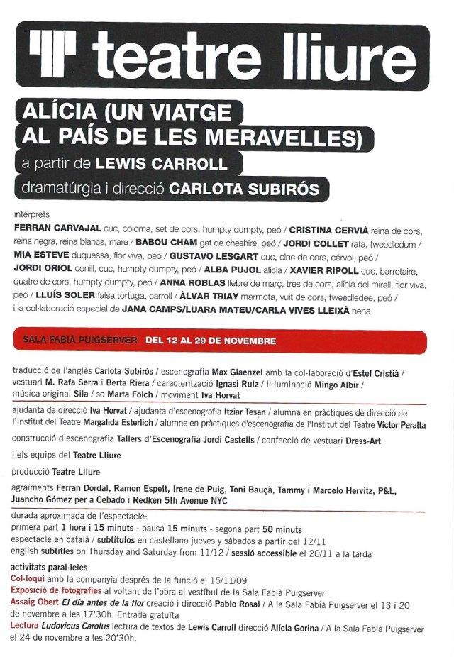 Primera plana del fulletó de l'obra de Carlota Subirós al Teatre Lliure.