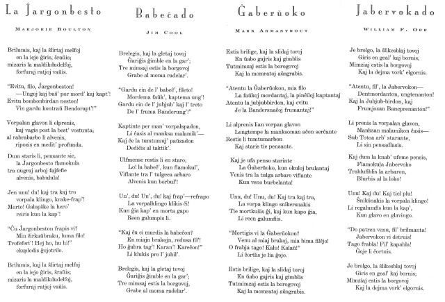 Quatre Jabberwockies en esperanto. Fitxa 102. Fes clic per ampliar