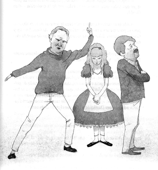 Alícia entre Richard Dawking (esquerra) i Stephen Jay Gould (dreta). Fitxa 112.