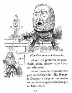 Alícia i Humpty Dumpty general Redvers Buller, responsable de diverses derrotes a Sudàfrica. Fitxa 131. Clic per ampliar.
