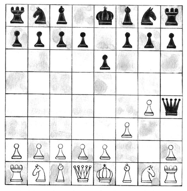 Un dels problemes del llibre: la partida d'escacs més curta possible. Fitxa 151