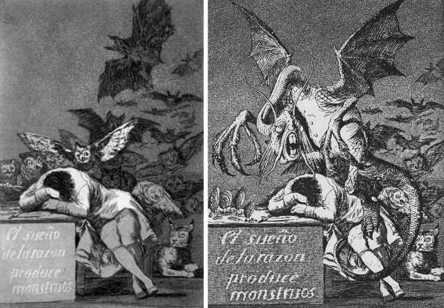 Gravat de Goya original, i gravat amb Jabberwock. Muntatge de l'autor. Fes clic per ampliar