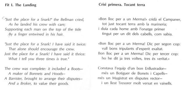 Comparació del text anglès i la traducció-imitació de Viana. Fes clic per ampliar