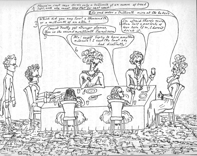 Dibuix interior. Fitxa 156. Els personatges parlen de concentracions de menjar que suggereixen que Carroll està fent mofa de l'homeopatia.