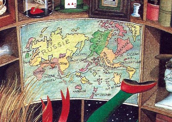 El mapa del món del pou.
