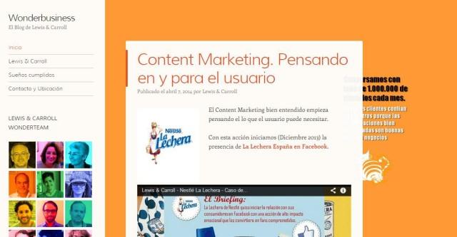 Pàgina d'inici del blog de l'empresa.
