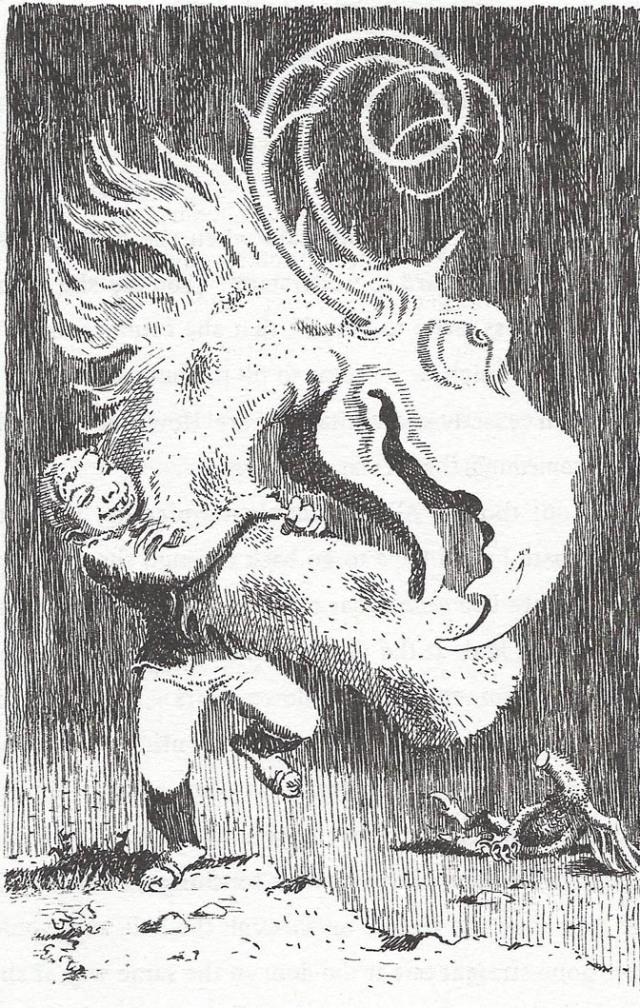 El Jabberwock. Il·lustració de Mervyn Peake. Fitxa 189.