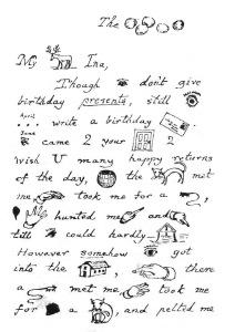Una carta pictogràfica de Lewis Carroll. Fes clic per ampliar.