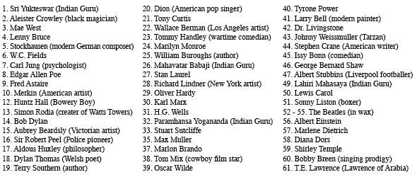 Llista de personatges de la foto de Sgt. Peppers.