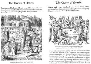 Fitxa 198. La Reina de Cors d'Alícia, i una partida de cartes amb una reina medieval. Fes clic per ampliar.