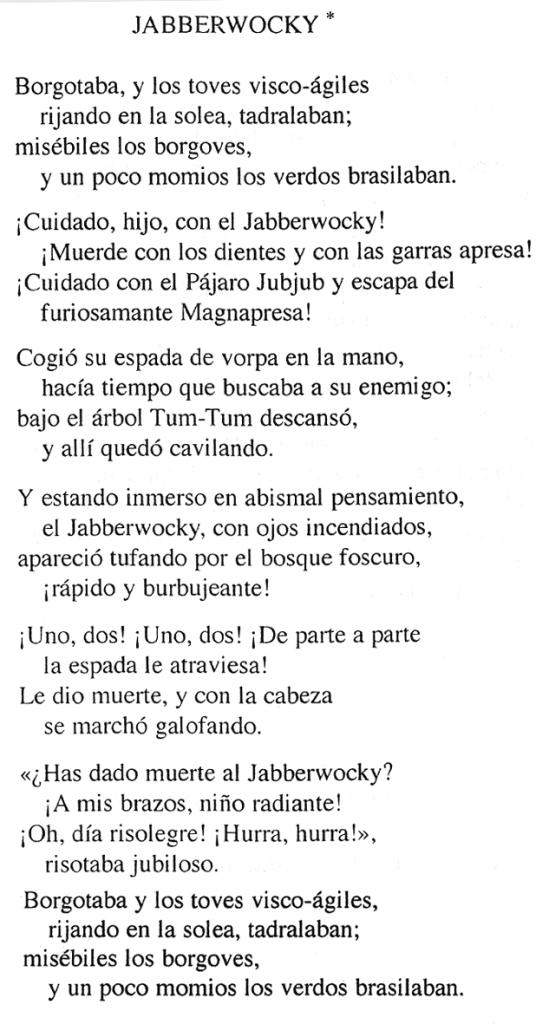 El Jabberwocky, en traducció de Marta Olmos. Fitxa 202