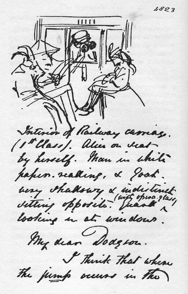 Facsímil de la carta de Tenniel a Carroll, amb una primera versió del dibuix del tren del Mirall. Fitxa 200