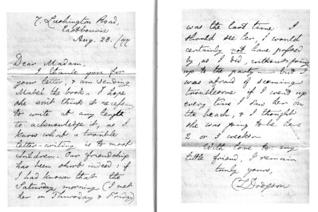 Facsimil d'una de les primeres cartes de Carroll a la mare de Mabel. Fes clic per ampliar.