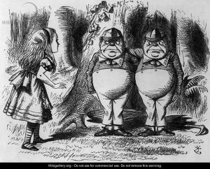 Els bessons segons Tenniel, el seu primer dibuixant. Fes clic per ampliar.
