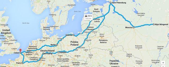 Itinerari aproximat de Carroll i Liddol de Londres a Moscou. La nomenclatura del mapa és l'actual.