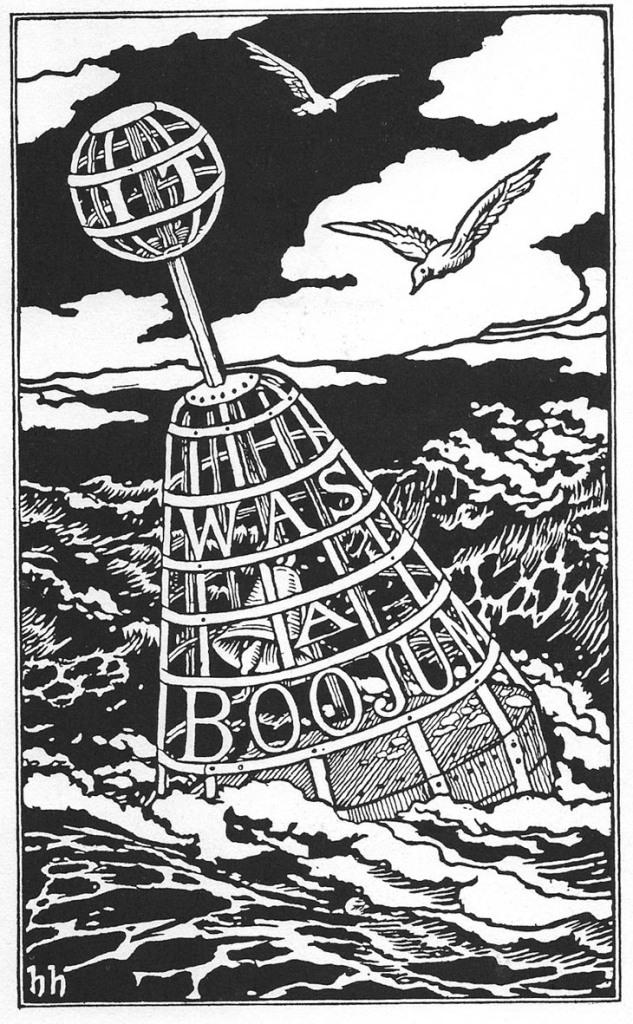 Coberta interior de la primera edició de l'Snark. Dibuix d'Henry Holiday, amb la frase final.