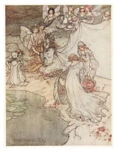 Una il·lustració del Somni d'una nit d'estiu. Medalla d'Or a Barcelona 1911. Fes clic per ampliar.
