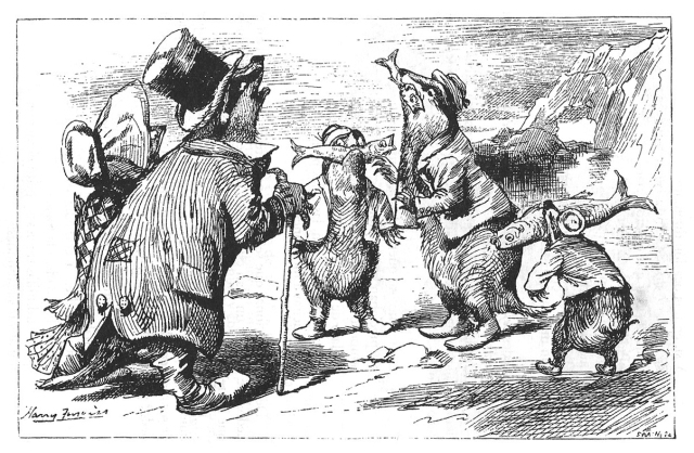 Fitxa 224.  Il·lustració sobre la fàbula dels toixons i les sardines.