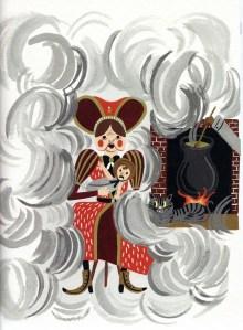 La cuina de la duquessa.  A la il·lustradora no li surten bé els dibuixos de lletjor. Fitxa 241. Fes clic per ampliar.