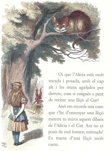 Fitxa 244 Dibuix de Tenniel on, al peu de l'arbre, es pot veure la didalera. Fes clic per ampliar.