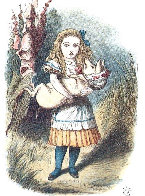 Una altra il·lustració amb Alícia i la didalera. És lúnic dibuix de Tenniel en que l'Alícia està en posició frontal.