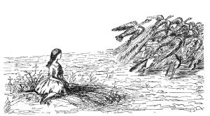 Una de les figures de Carroll no redibuixadses per Tenniel. Fes clic per ampliar.