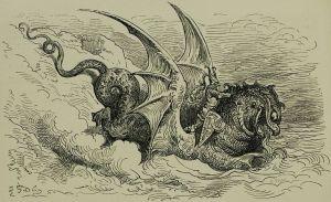 Un drac del dibuixant romàntic Gustavo Doré. Fes clic per ampliar