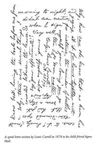 Fitxa 286. Una de les cartes que Carroll va enviar a una nena amiga, feta en espiral. Fes clic per ampliar.
