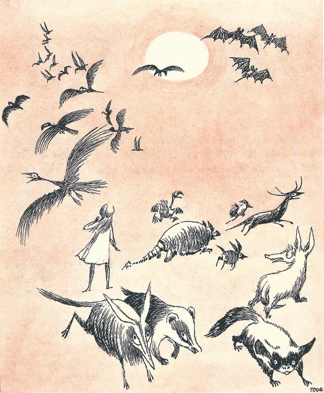 Fitxa  285. Els animals fugint de la carrera. Hi ha també ratpenats.