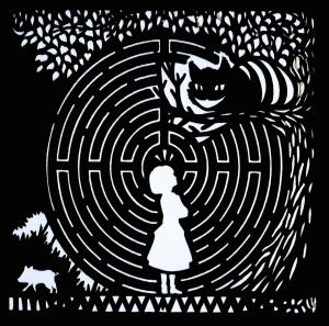 Alícia i el Gat de Cheshire. Fes clic per ampliar.