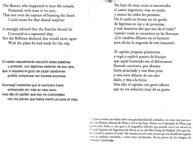 Fitxa 292. Doble pàgina del llibre. A l'esquerra, original anglès i traducció literal. A la dreta, traducció fictícia de Pedro de la Cavada. Fes clic per ampliar.
