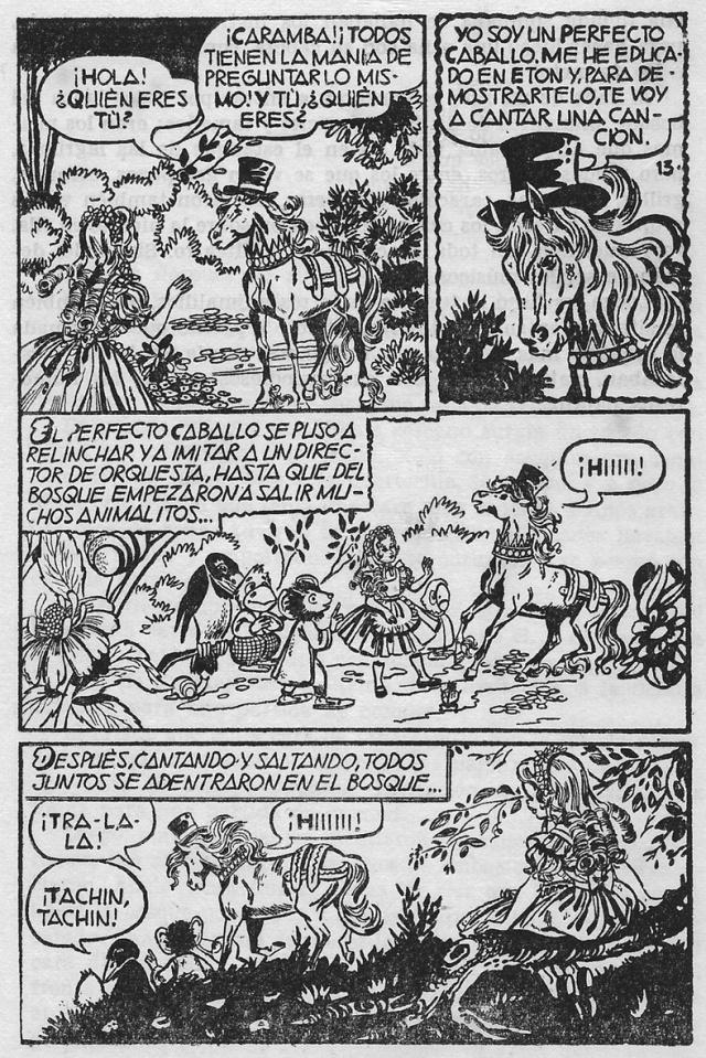 Il·lustracions del Perfecte Cavall de l'Alícia de Colección Historias, d'editorial Bruguera. Fitxa 1