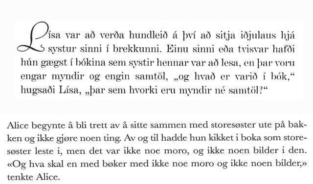 Comparació entre l'islandès (dalt) i el noruec (baix)