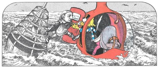 Fitxa 305. El Pastisser surt de la boia i va al submarí de Flaggy  Jack. Fes clic per ampliar