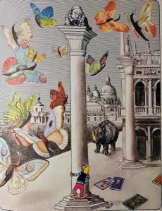 Fitxa 305. El Pastisser substituint el Lleó de Sant Marc, amb el rinoceront de Durero i papallones-góndola. Fes doble clic per ampliar