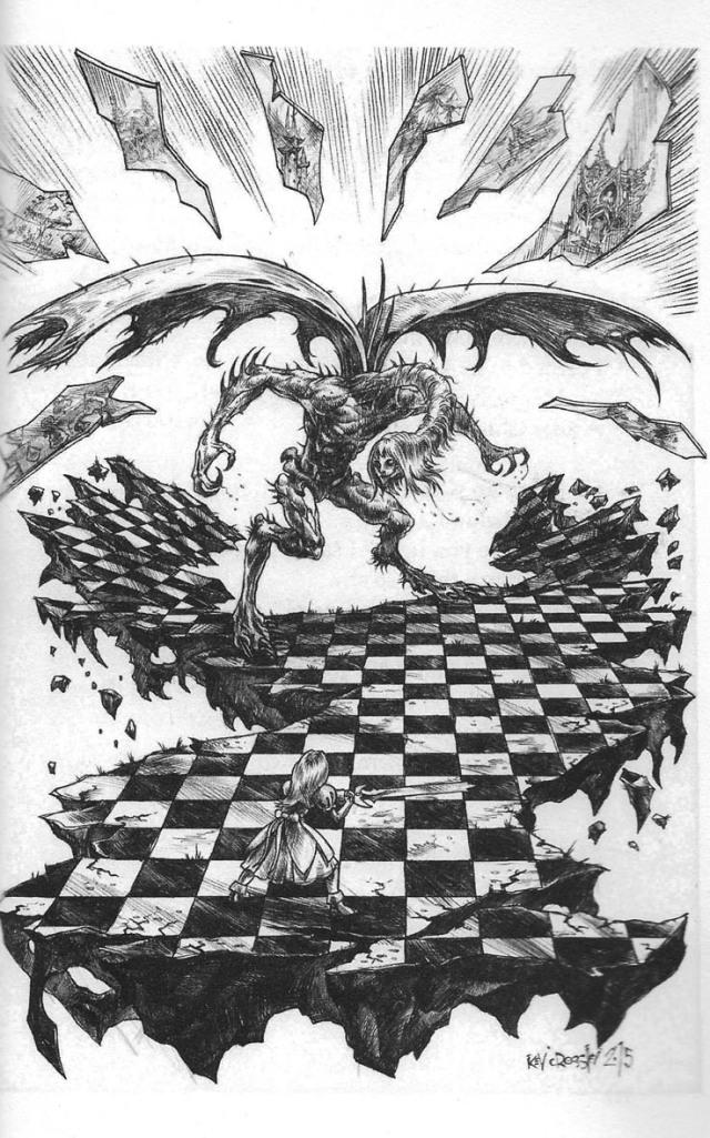 Fitxa 308. Combat d'Alícia i el Jabberwock, amb l'inevitable tauler d'escacs.